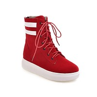 Fall Winter Casual Flat Bottom Laces Short Boots
