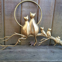 """Vintage brass Cat family full moon crazy cat lady kitty cat lover wall hanging 14"""" long."""