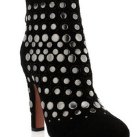 Alaia Ankle Black Suede Boot With Metal Detail
