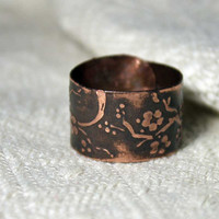 Sakura ring - Copper wide ring - Cherry blossom ring - Etched flower ring - Forest Elven Ring - Small model of sakura ring