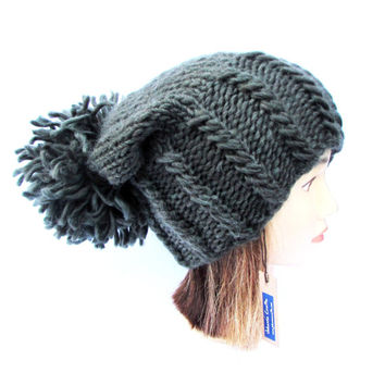 Hand knit army green slouchy beanie hat with large pom pom - warm winter hat 100% wool - womens winter accessory - slouch hat gift for her