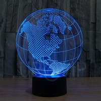 JC-2818 Amazing 3D Illusion led Table  Lamp Night Light with America earth shape with 7 color light