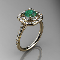 French 14K Yellow Gold 1.0 Ct Emerald Diamond Engagement Ring R1028-14KYGDEM
