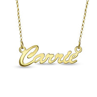 Script Name Necklace in Sterling Silver with 18K Gold Plate (12 Characters) - Personalized Necklaces - Shared - Zales