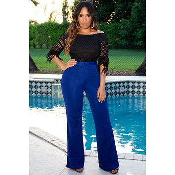 ISABELLA HIGH WAIST CREPE TROUSERS - Royal Blue