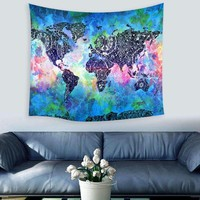 150X130cm World Map Polyester Tapestry Wall Hanging Indian Mandala Throw Blanket Mat Home Room Dorm Art Wall Home Textiles Hot