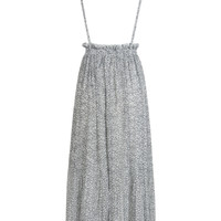 White Floral Printed Pleated Maxi Suspender Skirt