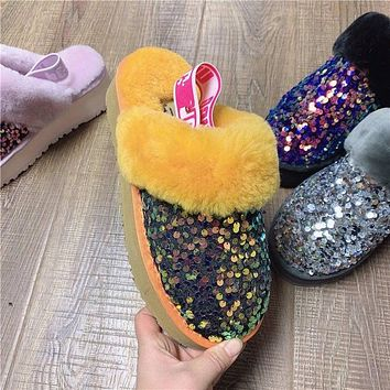 UGG classic fashion platform shoes colorful sequin slippers sexy ladies plush slippers