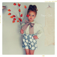 Girls Shorts: The Polka Dotted Ruffle Top Shorts in Grey and White from the Autumn Winter Collection by Fleur and Dot