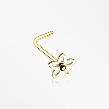 Golden Sweet Violet Flower L-Shaped Nose Ring