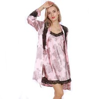 Women Sexy Robe Sets Femme 2017 Spring Summer Satin Silk Nightdress Lace Night Bathrobes Dressing Gown Free Size WP325