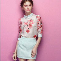 Floral Print Sleeve Collared Blouse With Paired Mini Skirt
