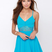 Strappy V-neck Crisscross Backless A-Line Mini Skater Dress