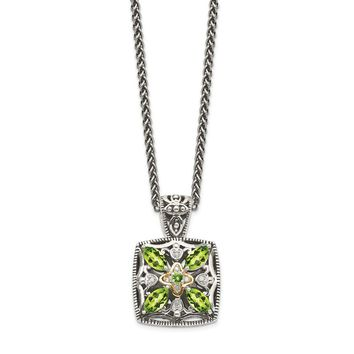 Sterling Silver w/ 14k Yellow Gold Accent Diamond And Peridot Necklace