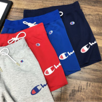 Champion Summer New Fashion Shorts Side Letter Print Loose Casual Shorts Gray