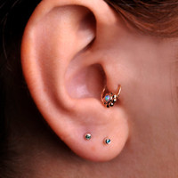 TRAGUS RING / Ear /Cartilage/nose ring 9K solid Gold with 2mm Turquoise. 16 gauge 6mm inner diameter / Handcrafted