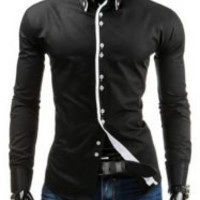 Contrast Color Shirt Collar Long Sleeve Button-Down Shirt
