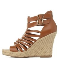 Cognac Knotted Gladiator Espadrille Wedge Sandals by Charlotte Russe
