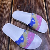 LV rainbow colorblock letter printed logo casual beach sandals