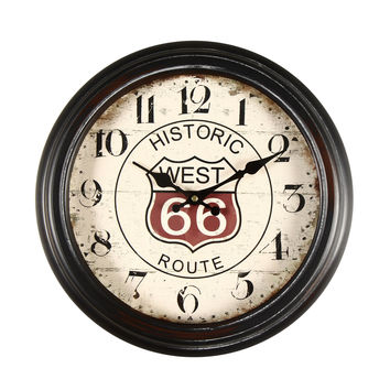 """Brown Antique-Look Wall Clock """"Historic West 66 Route"""""""