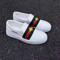 Gucci:Trending Fashion Casual Running Sports Bee Embroider Shoes White G