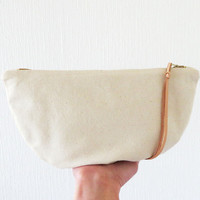 Half Moon Pouch, Natural Clutch, Cotton Pouch, Make up bag, Beauty Case, Zip pouch, Small Zippered Bag, Canvas Bag, Handmade gift