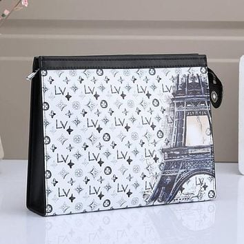 LV Louis Vuitton Colorblock Letter Printing Cosmetic Bag Clutch Briefcase #4
