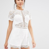 Missguided | Missguided Lace Short Sleeve Romper at ASOS