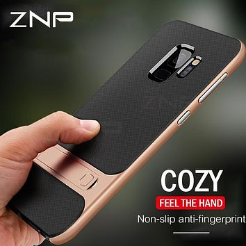 ZNP Holder Phone Case For Samsung Galaxy S10 S9 S8 Plus S10E PC+TPU Stand Full Cover Cases For Samsung Note 8 9 S7 S8 S9 Case