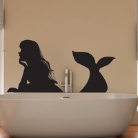 Vinyl Wall Decal Sticker Resting Mermaid #OS_DC798