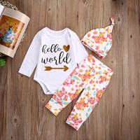2016 3 PCS Autumn Spring Newborn kids long sleeve sets Baby Girls Hello World Tops Romper Floral Pants Hat Outfits Set