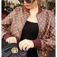 Louis Vutitton LV¡ÁSupreme Women Fashion Logo Letter Print Long Sleeve Baseball Clothes Zip Cardigan Coat-2