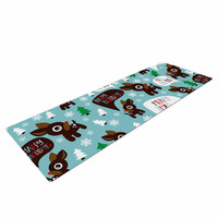 "KESS Original ""Cheerful Reindeer"" Blue Brown Yoga Mat"