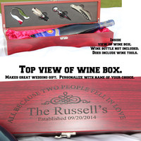 Anniversary gift,  Personalized Rosewood Finish Single Wine Box with Tools,  wedding gift,  wine box,  anniversary gifts,