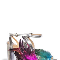 Feather Block Heel Sandal