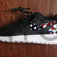Nike Roshe One Run Black USA World Cup Winner American Flag Soccer Custom Men & Women