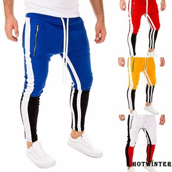 Tide brand men's color matching hip hop fitness trousers