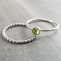Peridot Ring - Thin Stacking Ring Set