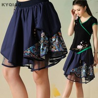 KYQIAO Ethnic skirt 2017 Girls summer Mexican style vintage original short blue black A-line patchwork skirt free shipping
