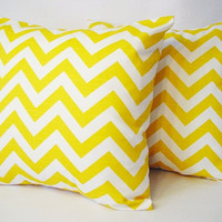 2 Chevron Decorative Pillow Covers Yellow and White - 18 x 18 inches Throw Pillow Cushion Cover Accent Pillow