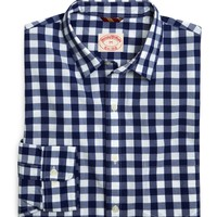Poplin Navy Large Gingham Sport Shirt - Brooks Brothers