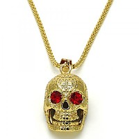 Gold Layered 04.242.0059.30 Pendant Necklace, Skull Design, with Garnet Crystal, Polished Finish, Golden Tone