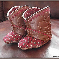 Cowboy Cowgirl Unisex Baby Western Boots Faux Vegan Leather Children's Quilted Booties