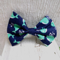 Ripple - Mint and Navy Whale Pattern Fabric Hair Bow With Alligator Clip (Small, Medium, and Large Sizes Available)