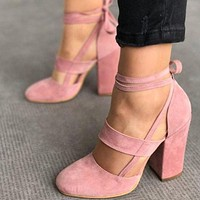 Strappy Suede Block Heel Women's Shoes 5 Colors