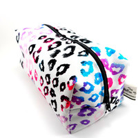 Neon and Black Cheetah Print  Makeup Bag, Zippered Cosmetic Pouch,  Under 10, Travel Size, On The Go, Boxy Pouch, Canvas, Pencil Case