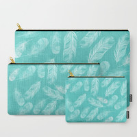 Carry-All Pouch or Laptop Sleeve - Feathers - Canvas-like fabric, Travel, Pocket, Traveler, Custom, Cosmetic, Makeup, Aqua, White, Boho