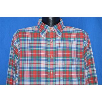 80s Red Green Plaid Oxford Button Down Shirt Extra Large