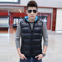 Free shipping-2014 autumn and winter cotton vest male vest waistcoat female coat fall and winter lovers thick warm hooded men's vest tide