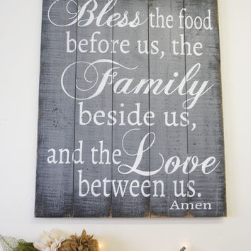Bless The Food Pallet Sign Rustic Wood Sign Dining Room Kitchen Sign Gray Home Decor Wood Wall Art Christian Wall Art Handpainted Handmade